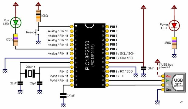 Diagram Pinguino Project (a PIC Microcontroller Based Arduino #No Programmer Required)