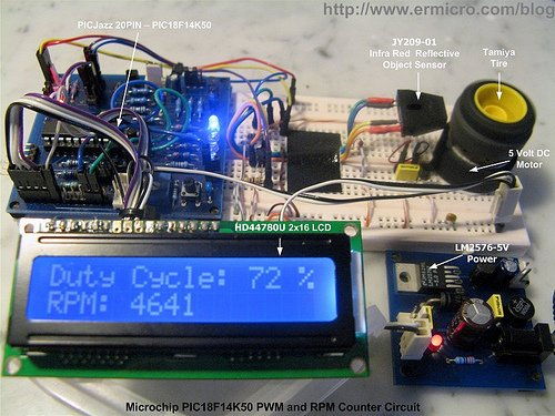 PIC18 Pulse Width Modulation (PWM) DC Motor Speed Controller with the RPM Counter Project