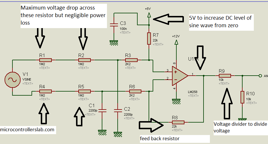 Schematic AC Voltage measurement using PIC16F877A microcontroller