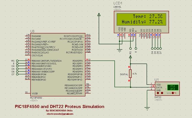 Schematic DHT22 (AM2302) Digital Humidity and Temperature Sensor Proteus Simulation
