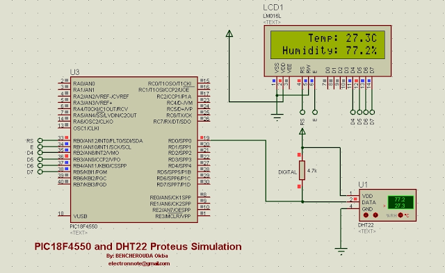 Schematic DHT22 (AM2302) Digital Humidity and Temperature Sensor Proteus Simulation