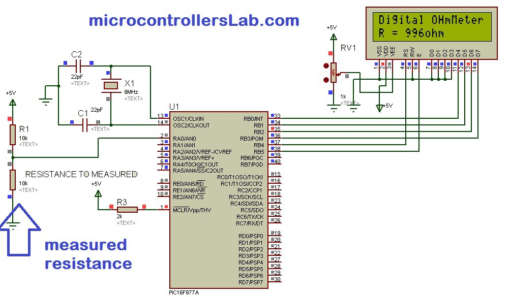 Schematic Digital Ohmmeter circuit using pic microcontroller