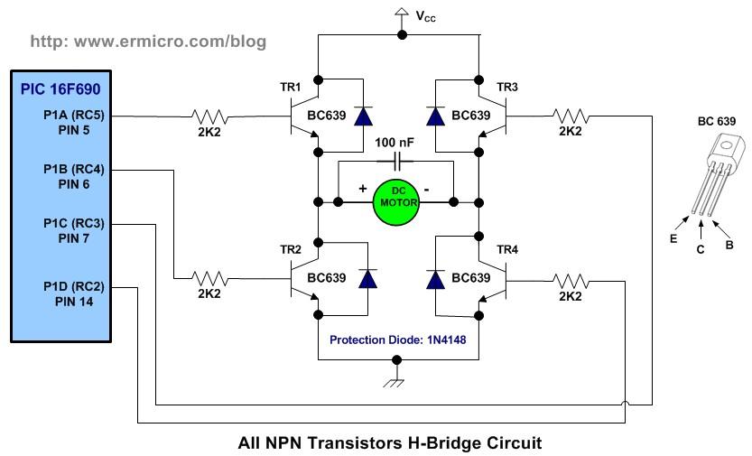 Schematic H-Bridge Microchip PIC Microcontroller PWM Motor Controller