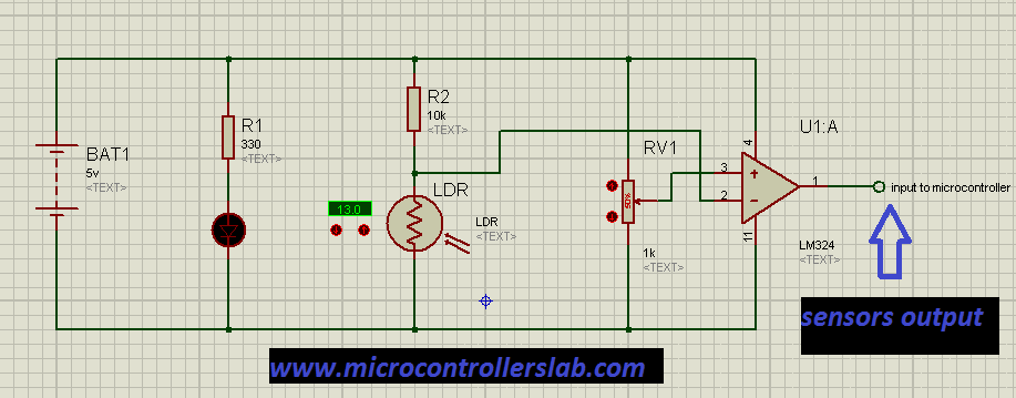 Schematic Line follower robot using microcontroller
