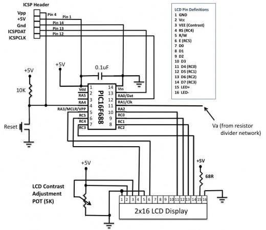 Schematic PIC-based Digital Voltmeter (DVM)