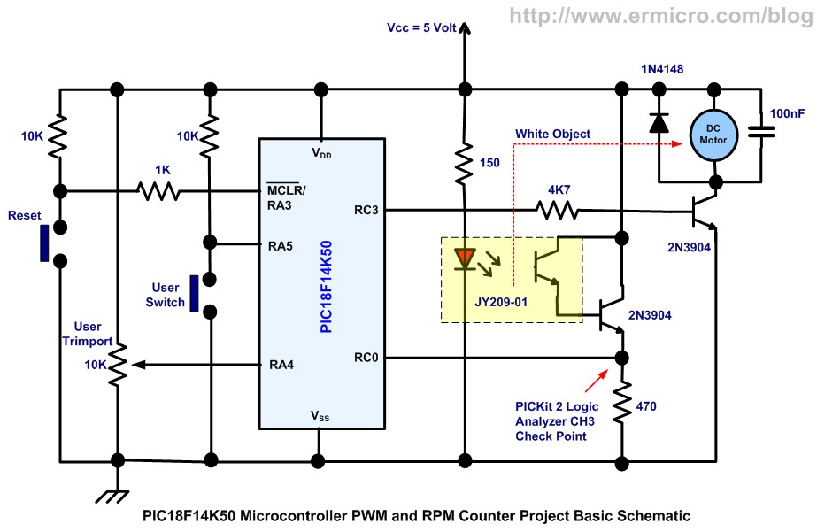 Schematic PIC18 Pulse Width Modulation (PWM) DC Motor Speed Controller with the RPM Counter Project