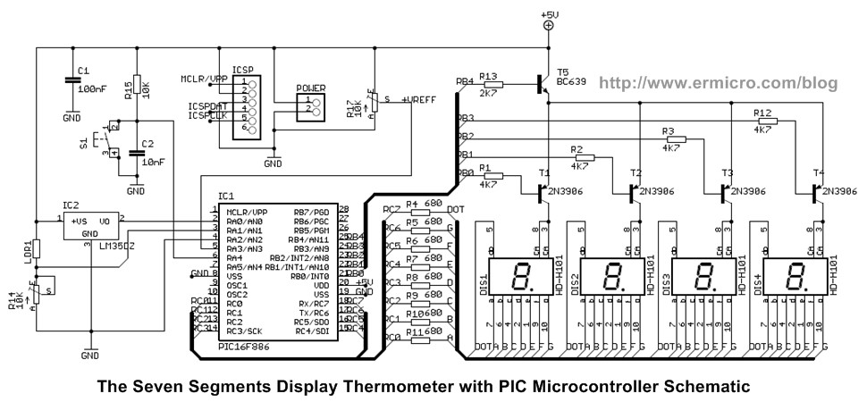 Schematic Seven Segment Display Thermometer with PIC Microcontroller