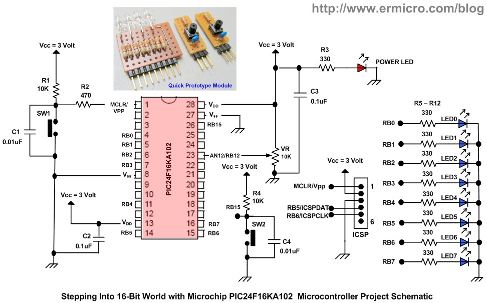 Schematic Stepping Into the 16-bit World with the Microchip 16-bit PIC24F16KA102 Family Microcontroller