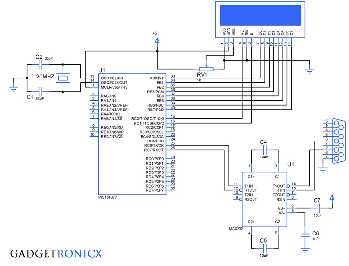 Schematic Transmitting and receiving data using UART protocol PIC Microcontroller