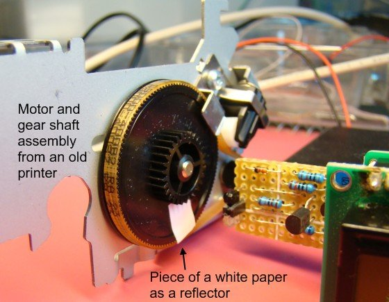 Tachometer TestSetup How to make a contact-less digital tachometer using IR-light reflection technique