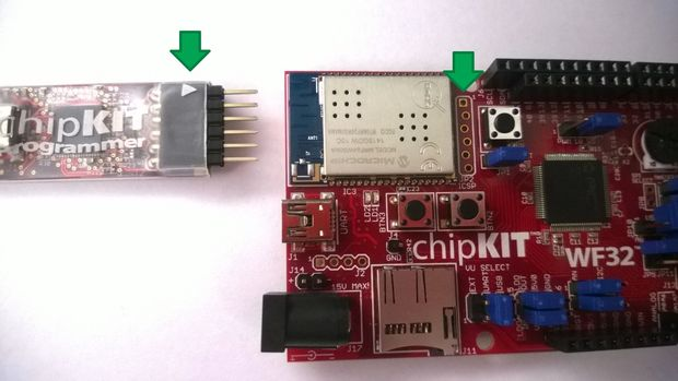 Attaching the ChipKIT PGM to the ChipKIT WF32