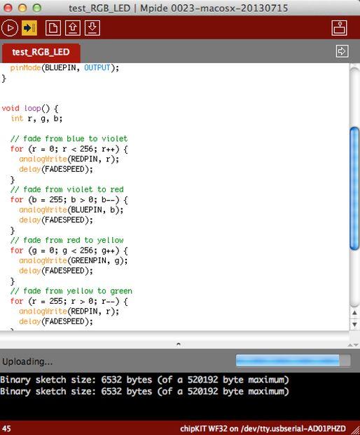 Program Your ChipKIT for the LED Demo Code
