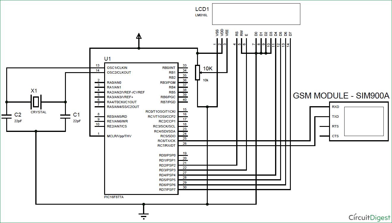 GSM-interfacing-with-PIC-microcontroller-circuit-diagram