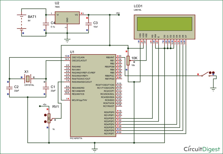 PIC16F877A-EEPROM-Circuit