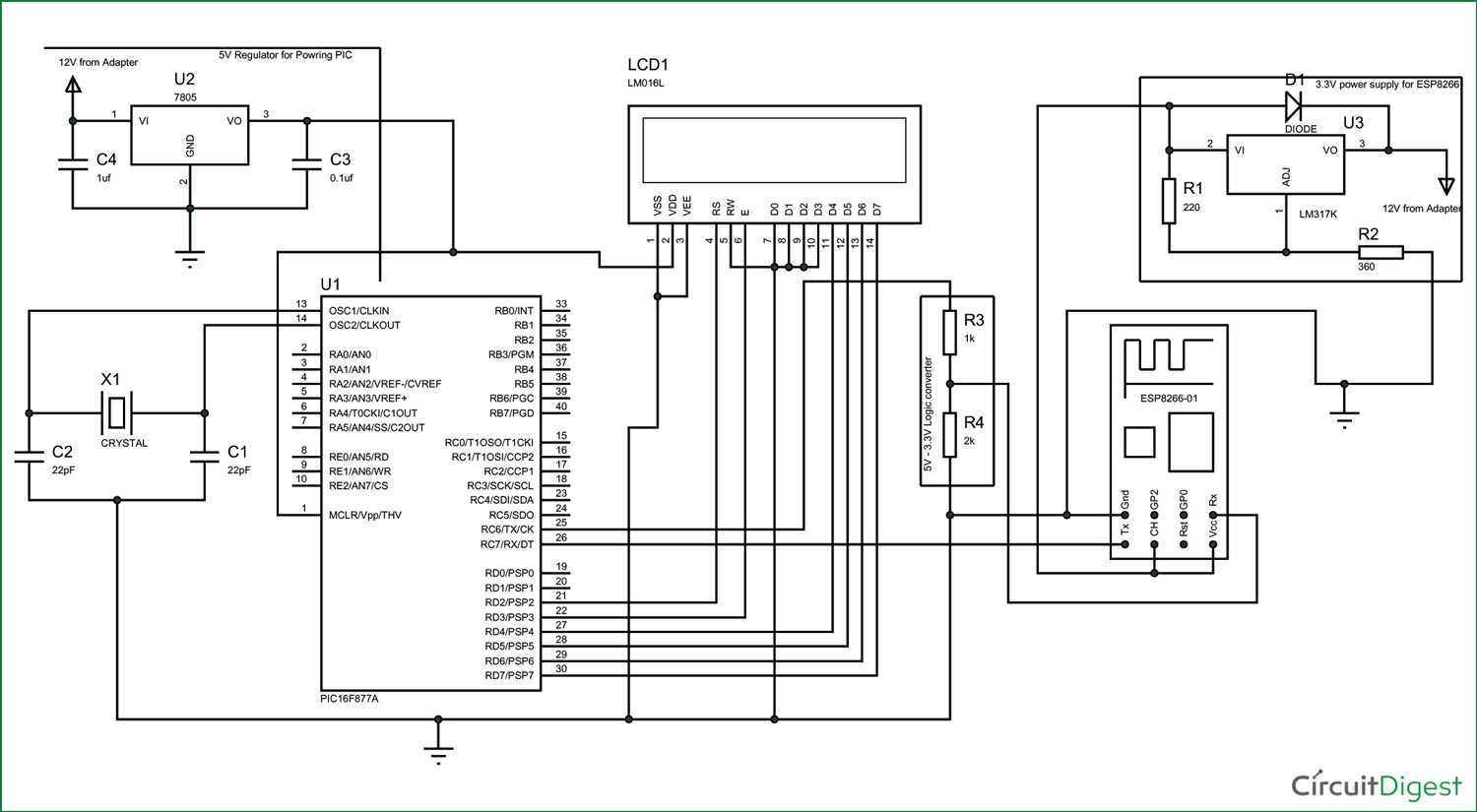 interfacing esp8266 with pic16f877a microcontroller