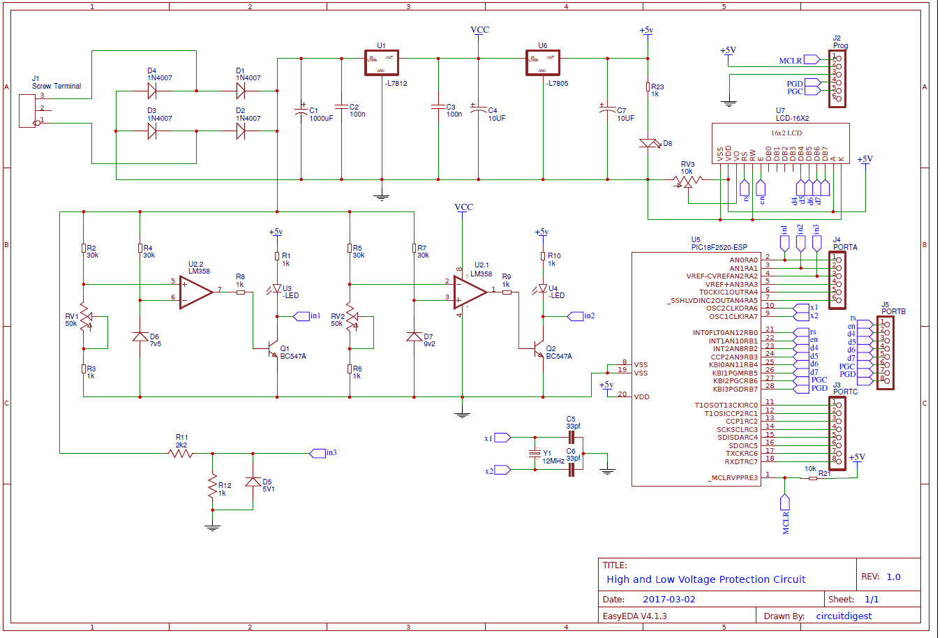 high-low-voltage-protection-using-PIC-microcontroller-circuit