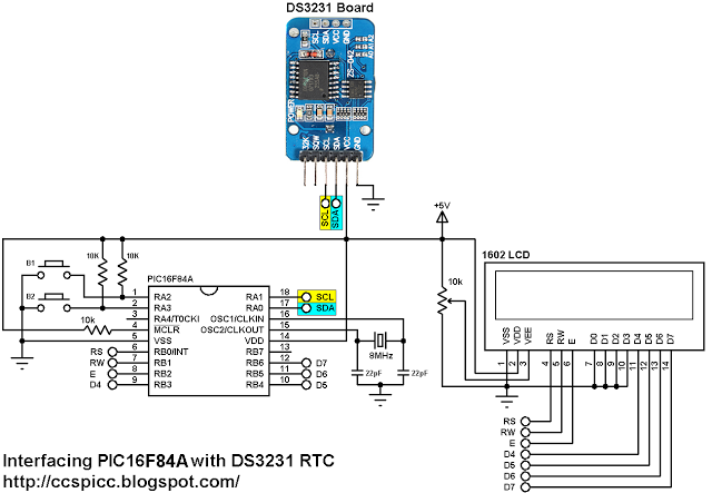 interfacing pic16f84a with ds3231 real time clock with setup buttons
