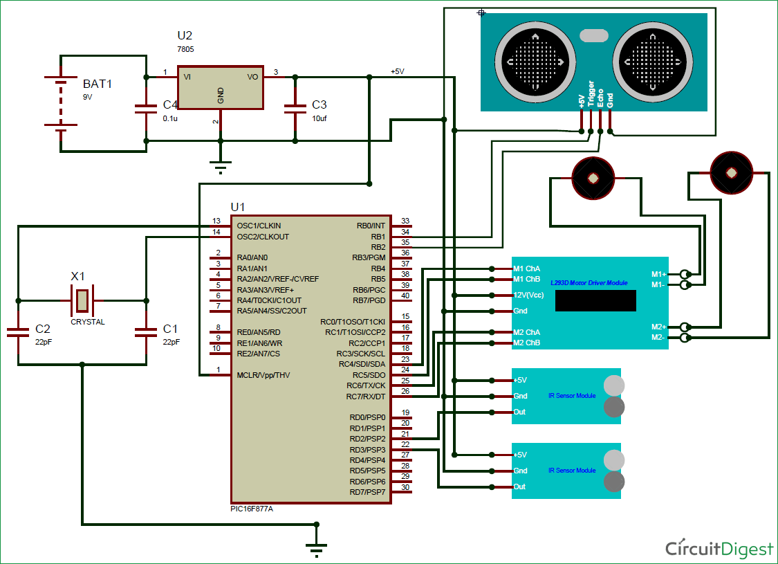 obstacle-avoiding-robot-using-pic-microcontroller-circuit-diagram