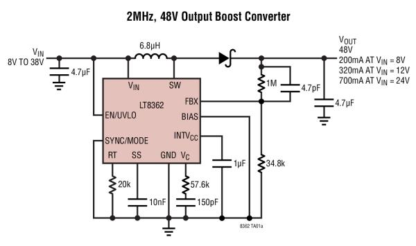 LT8362 LOW IQ BOOST OR SEPIC OR INVERTING CONVERTER WITH 2A 60V SWITCH