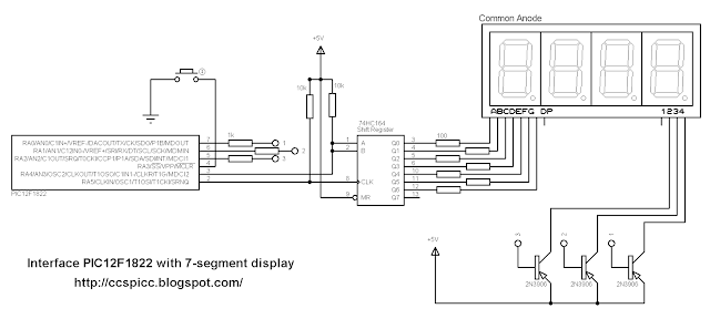 Schematic Interfacing 7-segment display with PIC12F1822 using CCS PIC C compiler
