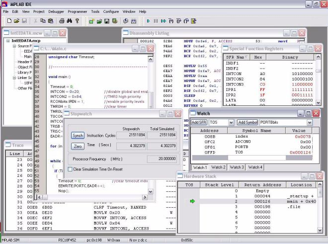 microchip mplab v8 screenshot
