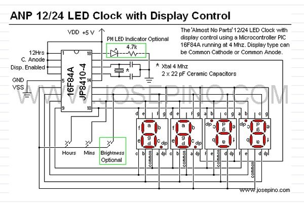 a 12hr 24hr led clock with display control using pic16f628a rh pic microcontroller com car digital clock wiring diagram car digital clock wiring diagram