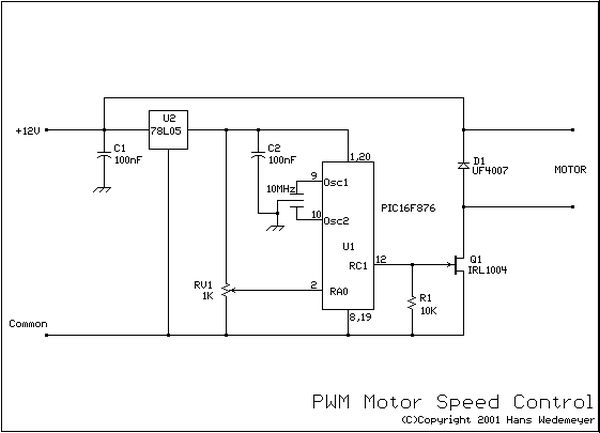 DC motor speed control using PWM using PIC16F876