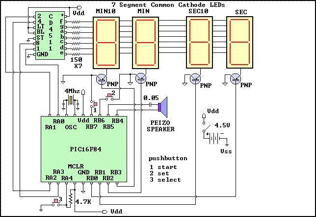 Darkroom Timer using PIC16F84 microcontroller