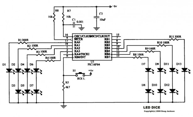 an led dice using a pic 16f84  or 16f88