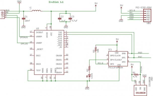 Schematic USB Temperature Sensor