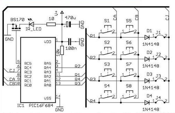 Schematic remote control transmitter