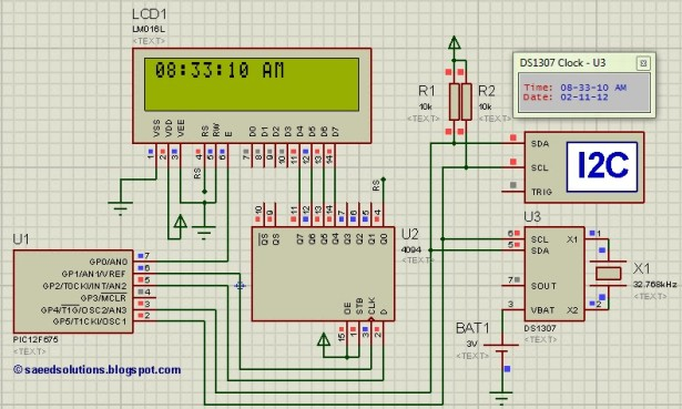Interfacing of PIC12F675 with DS1307 Schematic