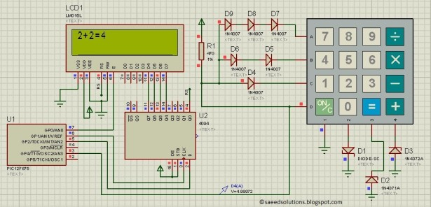 PIC12F675 based simple calculator schematic