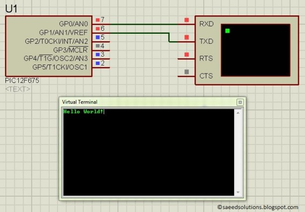 PIC12F675 software UART schematic