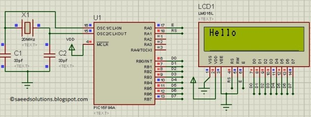 PIC16F84A LCD interfacing 8bit mode schematic