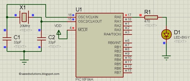 PIC16F84A internal EEPROM Schematic
