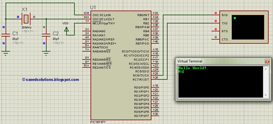 PIC16F877 UART code and Proteus simulation