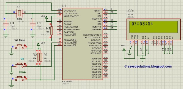 PIC16F877 based controllable digital clock using LCD display schematic