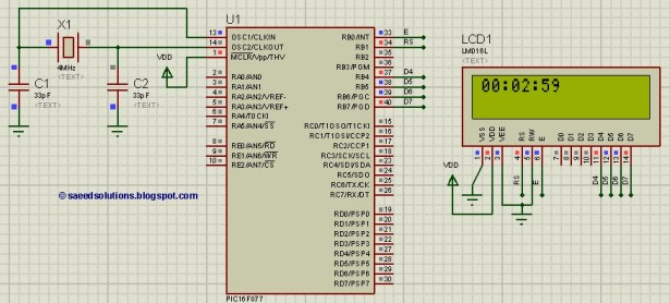 PIC16F877 based digital clock using LCD display schematic