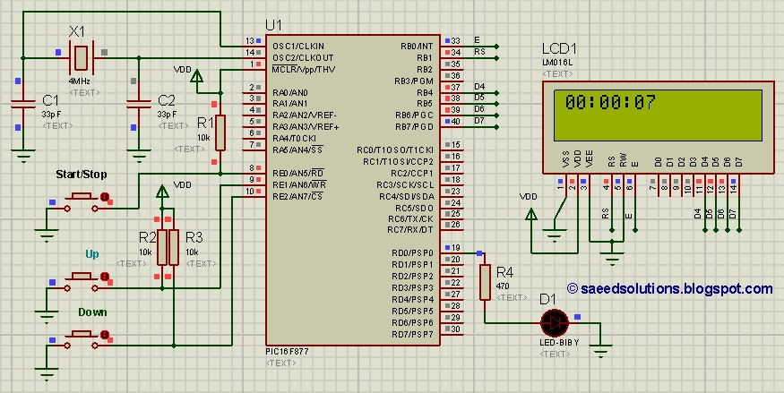 PIC16F877 stop watch code and Proteus simulation