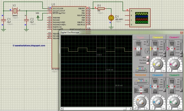 PIC16F877 timer1 Schematic