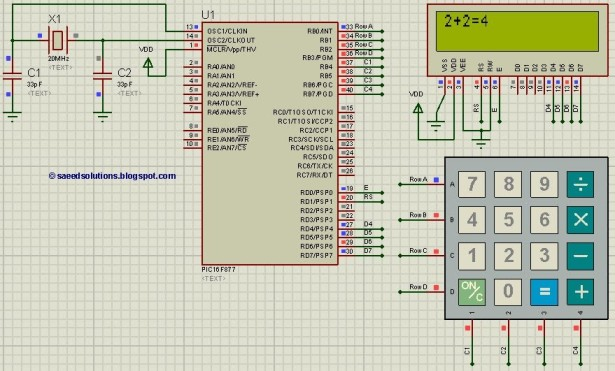 Pic16f877 based simple calculator project pic16f877 based simple calculator schematic ccuart Images