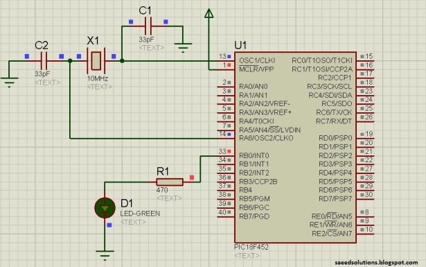 PIC18F452 LED Blinking schematic