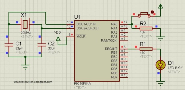Use PIC16F84A pin as input schematic
