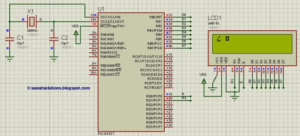 display custom characters on LCD using PIC16F877  schematic