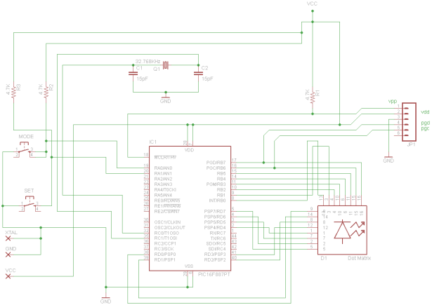 Digital Clock using PIC16F887 schematic