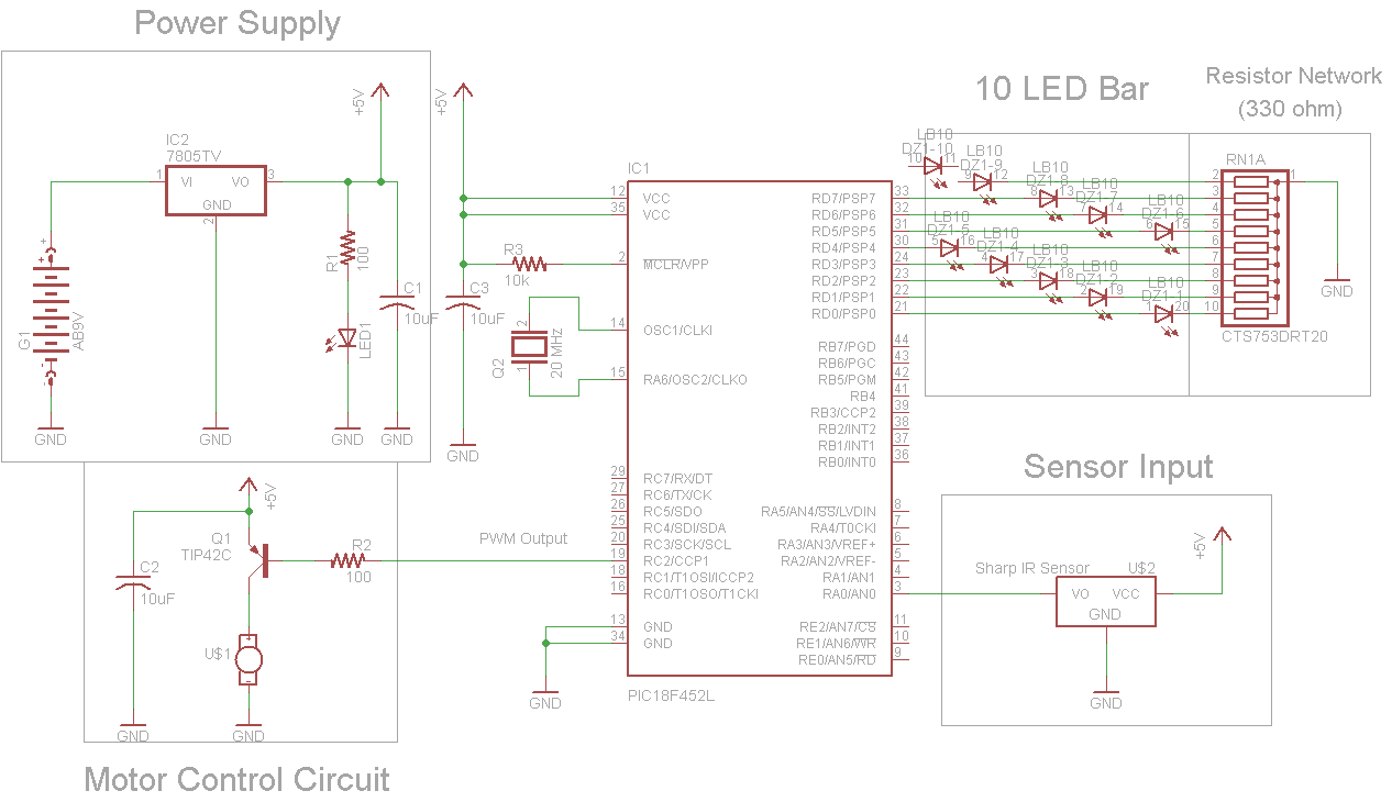 Ir Proximity Motor Control Using Pic18f4520 Dc Speed Circuit With Pic12f1822 Microcontroller Schematic