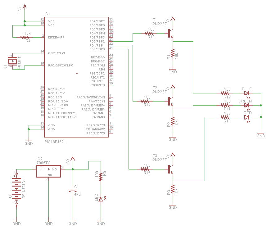 Rgb Led Controller Using Pic18f452