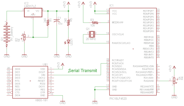 Xbee Wireless Servo Control schematic