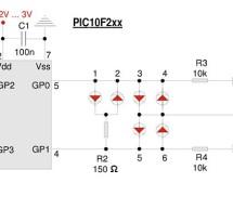Two PIC pins drive six LEDs